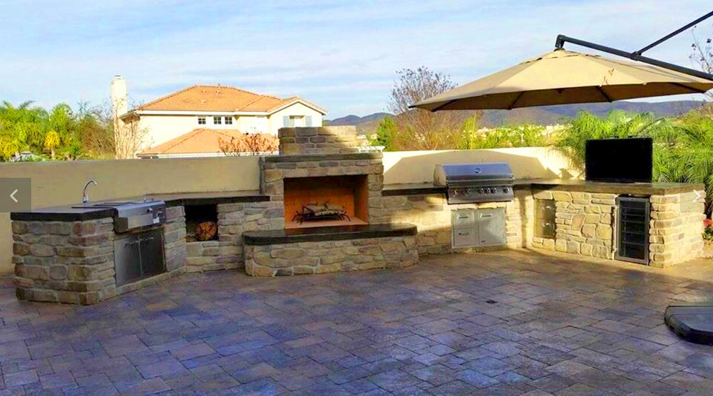 outdoor fire pit and kitchen