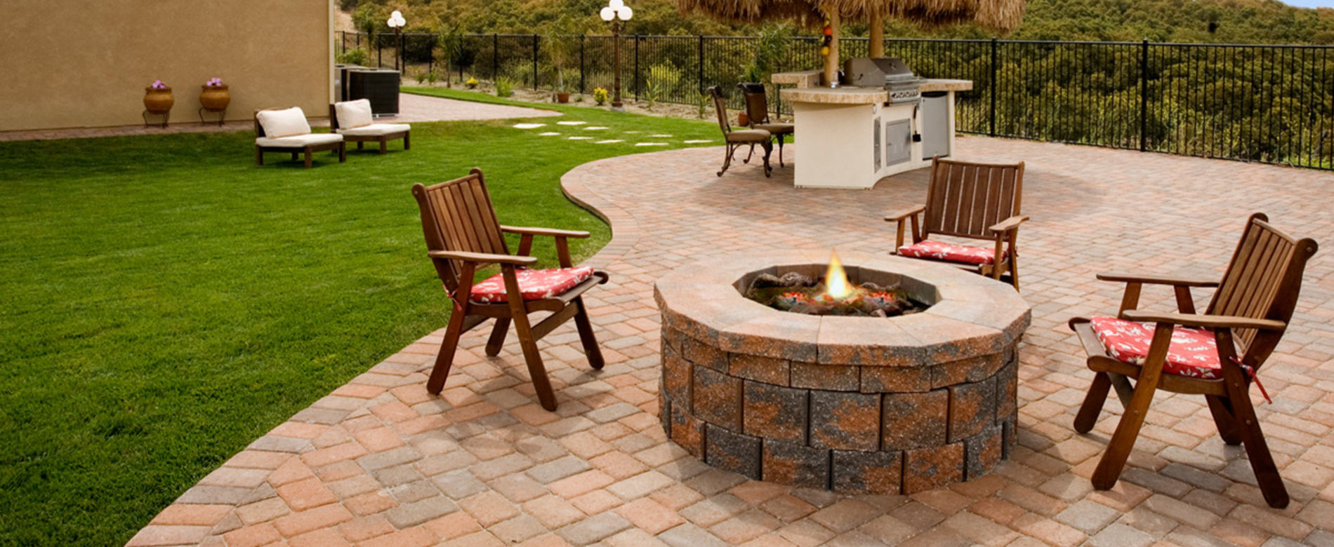 photo of paver fire pit and outdoor BBQ